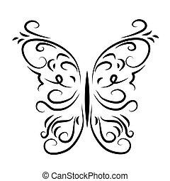 graficky, vzorkovaný, ozdobný, motýl
