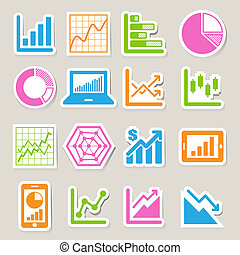 grafico, adesivo, set, affari, icona