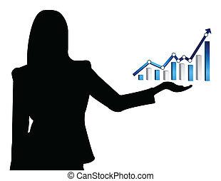 grafico, affari donna