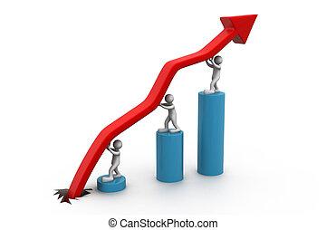 grafico, affari persone, spinta, piccolo, 3d, verso alto
