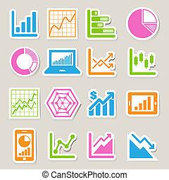 grafico, affari, set, icona, adesivo