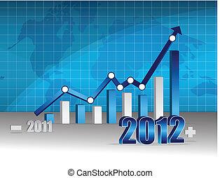 grafico, -, affari, successo