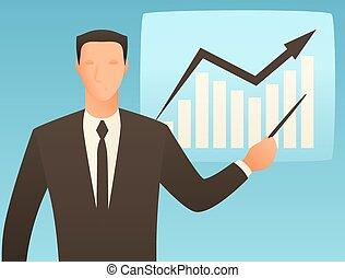 grafico, analisi, uomo affari, crescita affari, illustrazione, concettuale