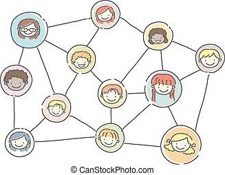 grafico, bambini, stickman, relazione