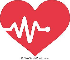 grafico, battito cardiaco, cuore