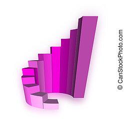 grafico, bianco, crescita, sbarra, 3d