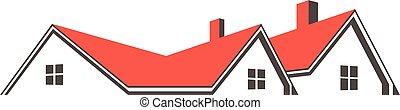 grafico, cima, tetto, case, vettore, disegno, logo.