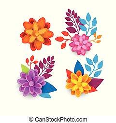 grafico, colorito, primavera, elementi, disegno, fondo, floreale, fiori bianchi