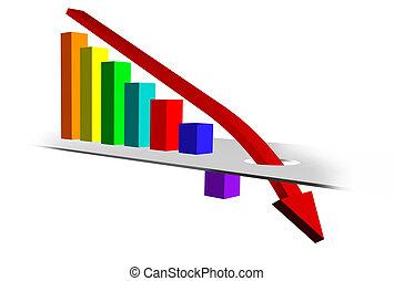 grafico, con, verso il basso, tendenza