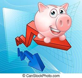 grafico, concetto, banca piggy