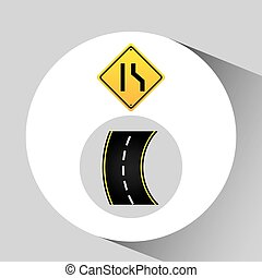 grafico, concetto, strada restringe, segno