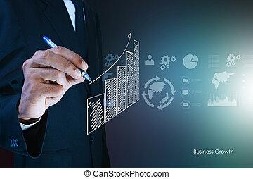 grafico, crescita, disegno, uomo affari