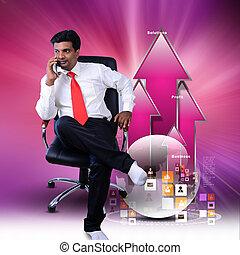 grafico, crescita, seduta, uomo, affari