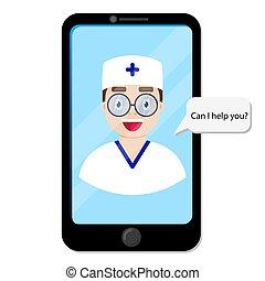 grafico, dottore, paziente
