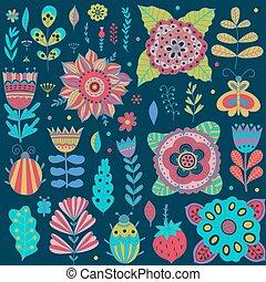grafico, elements., errori del software, collezione, foglie, fiori, farfalle, erbe, disegno