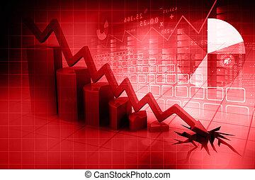 grafico, esposizione, affari, declino