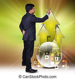 grafico, esposizione, crescita, affari, uomo
