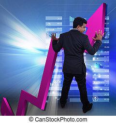 grafico, esposizione, crescita, uomo affari