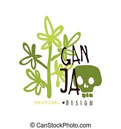 grafico, etichetta, ganja, sagoma, logotipo, disegno, ...