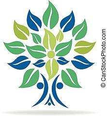 grafico, famiglia, simbolo, albero, vettore, logotipo, immagine