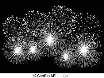 grafico, fireworks, illustrazione