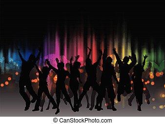 grafico, folla, festa, disegno, 0601, equaliser