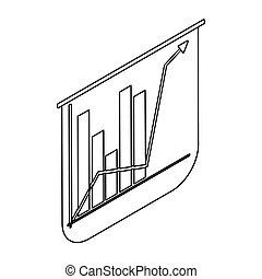 grafico, fondo, bianco, freccia, barre