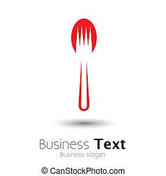 grafico, fork-, colorito, astratto, disposizione, cucchiaio, vettore