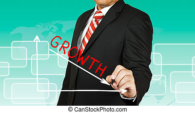 grafico, giù, andare, crescita, uomo affari, disegno