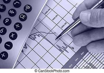 grafico, giù, mercati finanziari, andare