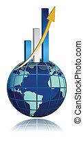 grafico, globale, sbarra, crescita affari