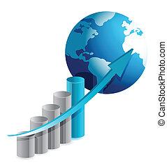grafico, globo, affari