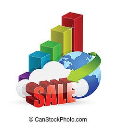 grafico, globo, vendita