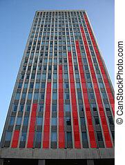 grafico, grattacielo, rosso