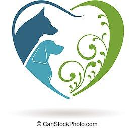 grafico, heart., coppia, vettore, disegno, amore, cani