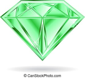 grafico, illustrazione, fondo., vettore, smeraldo, bianco, gemma