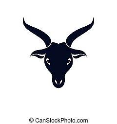grafico, illustrazione, lucifer., cornuto, goat, vettore, ...