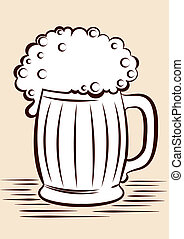 grafico, illustrazione, vetro, nero, beer.vector, bianco