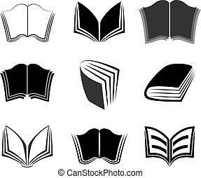grafico, libri, icone
