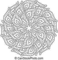 grafico, mandala, con, molti, decorativo, petals.,...