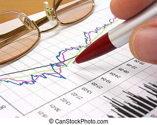 grafico, penna, affari, occhiali
