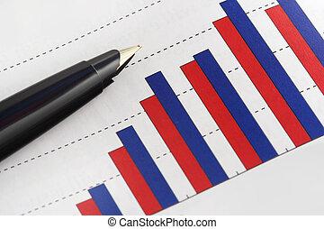 grafico, penna, guadagno, positivo