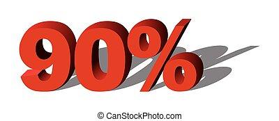 grafico, percento, vendita, illustrazione, vettore, 90