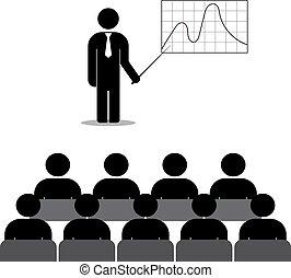 grafico, personale, direttore, mostra