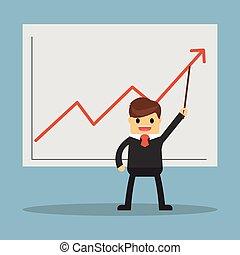grafico, presentare, crescente, uomo affari, bastone...
