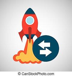 grafico, razzo, affari, lancio, frecce, su, inizio