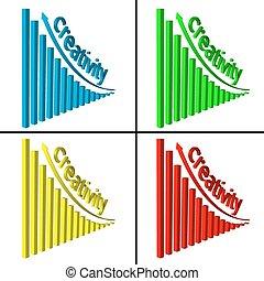 grafico, salita, colonne, colorito, 3d