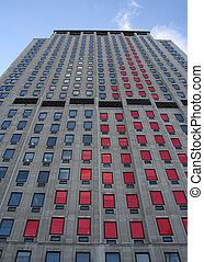 grafico, sbarra, grattacielo, rosso, grafico