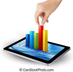 grafico, schermo, mano., vector., tavoletta