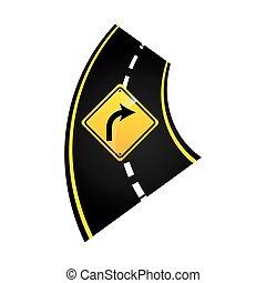grafico, segno, turno, concetto, destra, strada